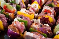 Raw pork skewers Royalty Free Stock Image