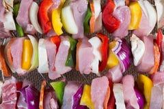 Raw pork skewers Stock Image