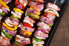 Raw pork skewers Stock Photo