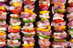 Raw pork skewers ready for grilling Royalty Free Stock Photos