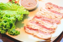 Raw pork slice for barbecue, Japanese food, Yakiniku. Cooking in Japanese Style. Japanese Cuisine Stock Image