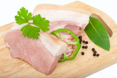 Raw pork sliced. On white Royalty Free Stock Image