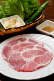 Raw pork sliced. With vagetable for Korean bbq style Royalty Free Stock Photography