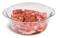 Raw Pork With Spices In A Glass Bowl Royalty Free Stock Images