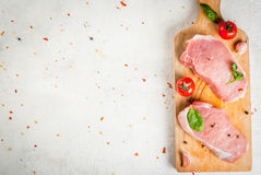 Raw pork, steak, cutlet. Royalty Free Stock Images
