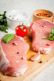 Raw pork, steak, cutlet. Royalty Free Stock Image