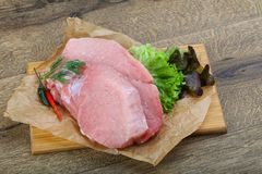 Raw pork steak. With dill and pepper ready for cooking royalty free stock photography