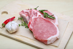 Raw pork steak Royalty Free Stock Photos