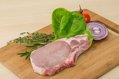 Raw pork steak Stock Images