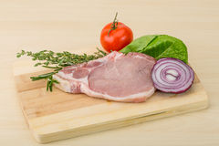 Raw pork steak Royalty Free Stock Image