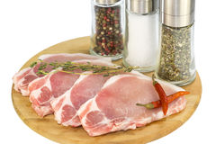 Raw pork steaks Stock Photography