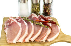 Raw pork steaks Stock Image
