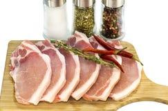 Raw pork steaks Stock Image