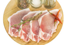 Raw pork steaks Royalty Free Stock Photography