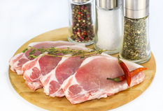 Raw pork steaks Royalty Free Stock Photo