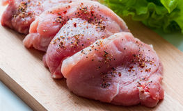 Raw pork steaks Royalty Free Stock Image