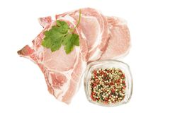 Raw pork steaks royalty free stock photography