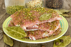 Raw pork steaks Stock Images