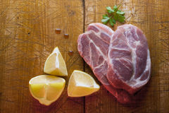 Raw pork still life Stock Images