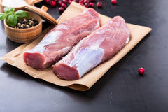 Raw pork tenderloin Stock Photo