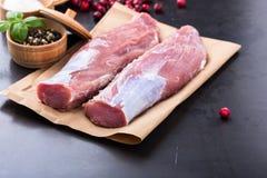 Raw pork tenderloin Stock Photo
