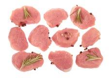 Raw pork  tenderloin slices Stock Image