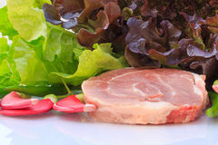 Raw pork and variety vegetables Stock Images