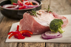 Raw pork with vegetable Stock Images