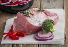 Raw pork with vegetable Royalty Free Stock Image