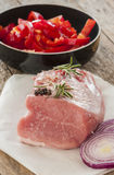 Raw pork with vegetable Stock Photography