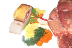 Raw pork with a vegetables stock photography