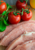 Raw pork with vegetables Stock Photo