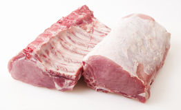 Raw pork  on white Stock Images