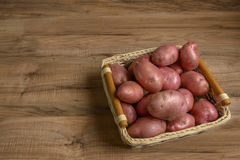 Raw potato food . Fresh potatoes on wooden background. Free place for text. Stock Images