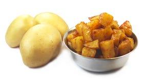 Raw potato and Potato Fry Royalty Free Stock Photography