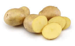 Raw Potato and Sliced Potato. Raw Potato and Potato slices with Isolated on white stock photography