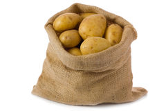 Raw potatoes. In burlap bag isolated on white background Royalty Free Stock Photos