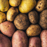 Raw potatoes  background square Royalty Free Stock Photos