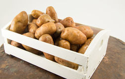 Raw potatoes in a basket Stock Image