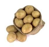 Sack with potatoes on white background stock photos