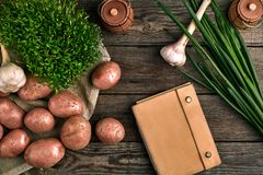 Raw potatoes in a linen bag, green onion, greens and garlic, food background, top view. Raw potatoes in a linen bag,green onion, greens and garlic, on wooden stock images