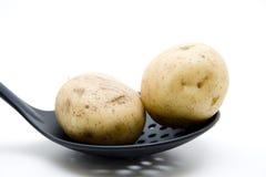 Raw Potatoes On Skimmer Stock Photos