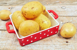 Raw potatoes in red tray Royalty Free Stock Photography