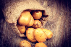 Raw potatoes in the sack Stock Photo