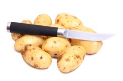 Raw potatos four. Raw potatos for eating on white background Stock Image