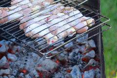 Raw poultry legs on the barbecue grille Royalty Free Stock Photos