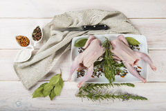 Raw poussin with herbs and spices Stock Photo