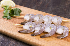 Raw prawn kebabs Royalty Free Stock Image