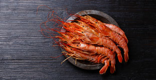 Raw Prawn on metal plate Royalty Free Stock Images