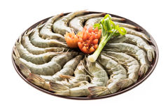 Raw prawn and shrimp in plate. Isolated on white background - Seafood style Royalty Free Stock Photos